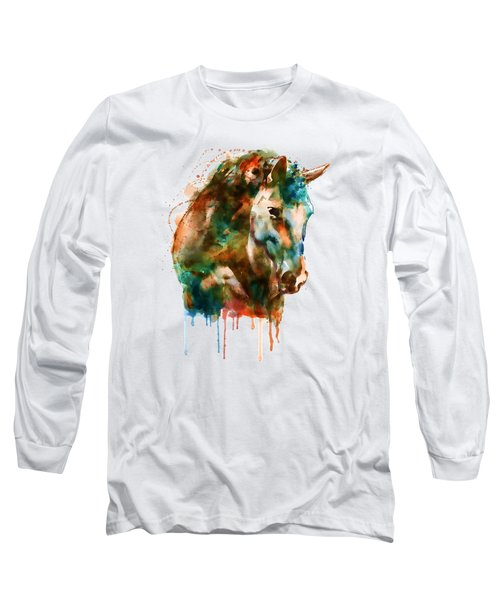 Horse Head Watercolor Long Sleeve T-Shirt by Marian Voicu