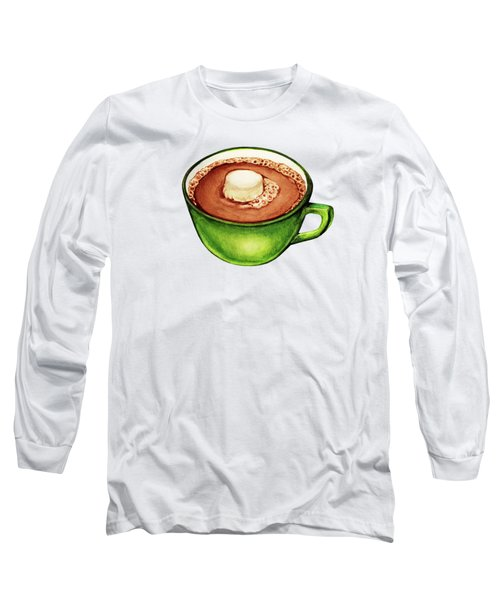 Hot Cocoa Pattern Long Sleeve T-Shirt by Kelly Gilleran