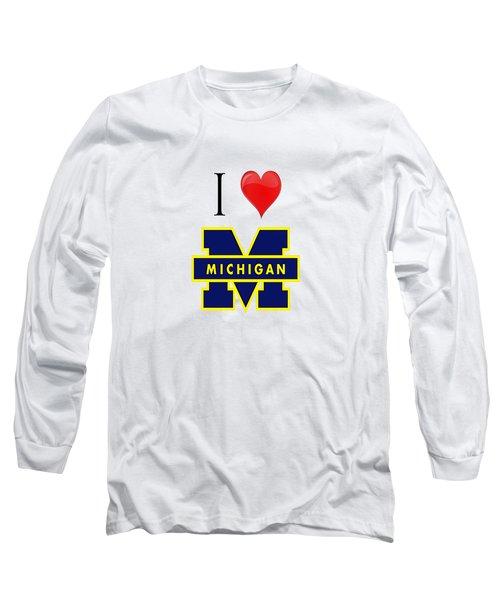 I Love Michigan Long Sleeve T-Shirt by Pat Cook