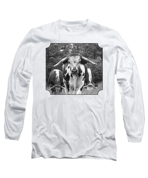 I'm In Charge Here - Black And White Long Sleeve T-Shirt by Gill Billington