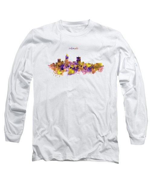 Indianapolis Skyline Silhouette Long Sleeve T-Shirt by Marian Voicu