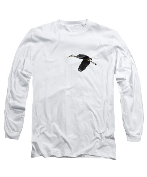 Isolated Great Blue Heron 2015-1 Long Sleeve T-Shirt by Thomas Young