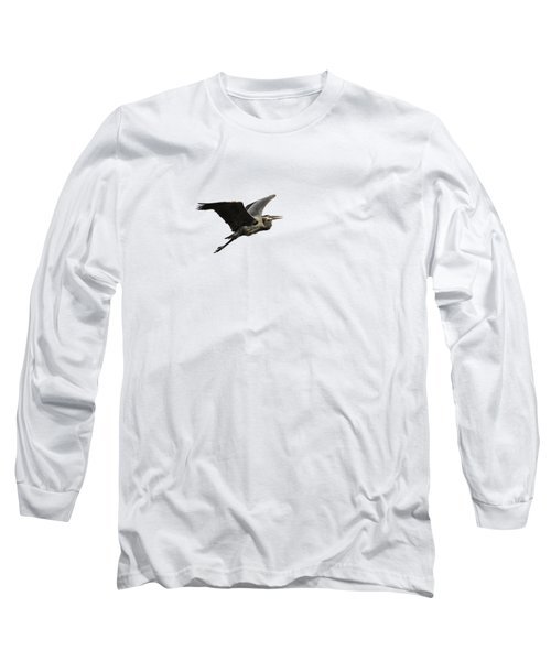 Isolated Great Blue Heron 2015-3 Long Sleeve T-Shirt by Thomas Young