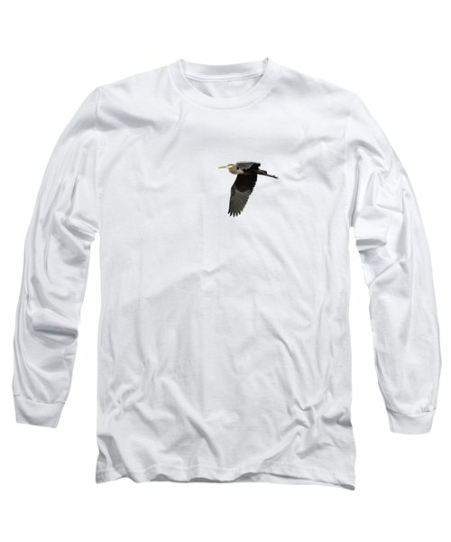 Isolated Great Blue Heron 2015-4 Long Sleeve T-Shirt by Thomas Young