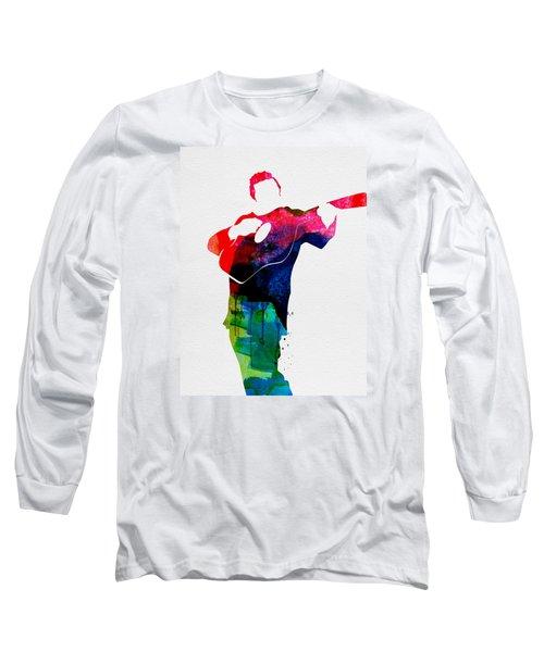 Johnny Watercolor Long Sleeve T-Shirt by Naxart Studio
