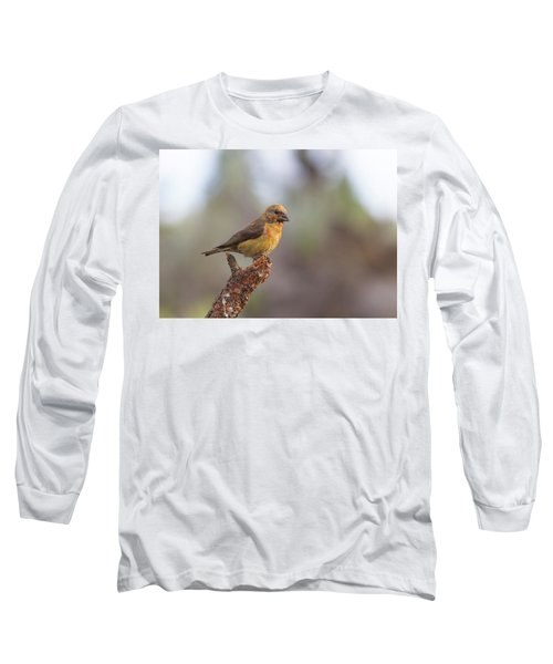 Juvenile Male Red Crossbill Long Sleeve T-Shirt by Doug Lloyd