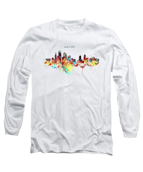 Kansas City Skyline Silhouette Long Sleeve T-Shirt by Marian Voicu