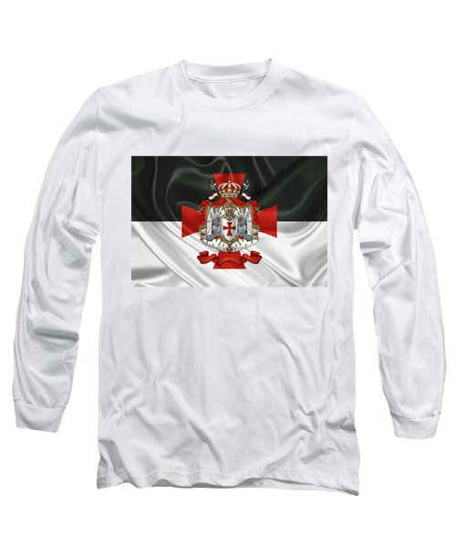 Knights Templar - Coat Of Arms Over Flag Long Sleeve T-Shirt by Serge Averbukh