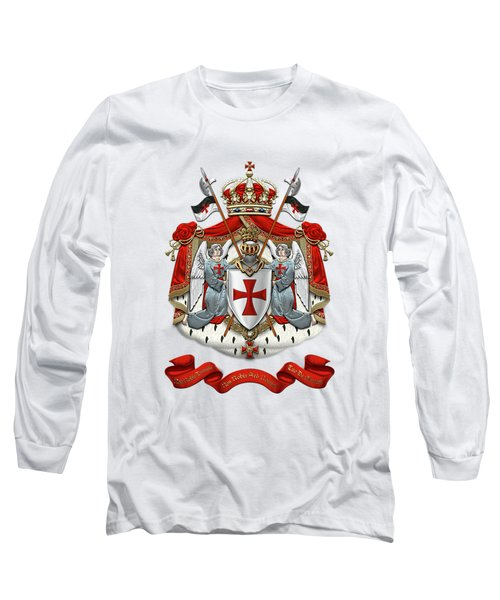 Knights Templar - Coat Of Arms Over White Leather Long Sleeve T-Shirt by Serge Averbukh