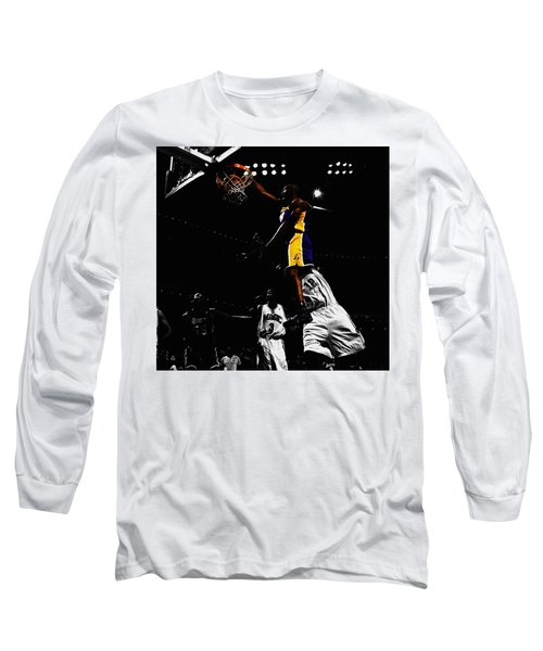 Kobe Bryant On Top Of Dwight Howard Long Sleeve T-Shirt by Brian Reaves