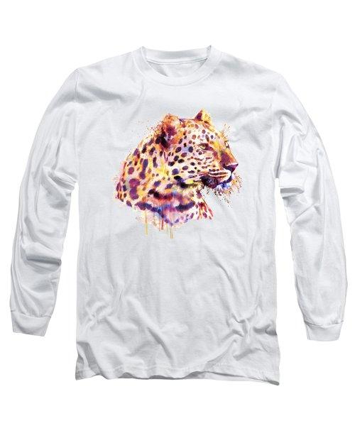 Leopard Head Long Sleeve T-Shirt by Marian Voicu