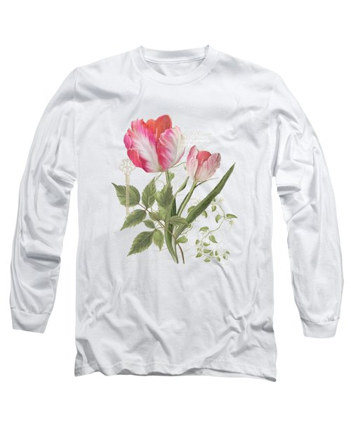 Les Magnifiques Fleurs I - Magnificent Garden Flowers Parrot Tulips N Indigo Bunting Songbird Long Sleeve T-Shirt by Audrey Jeanne Roberts