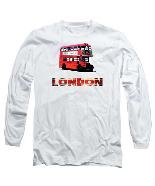 London Red Double Decker Bus Tee Long Sleeve T-Shirt by Edward Fielding