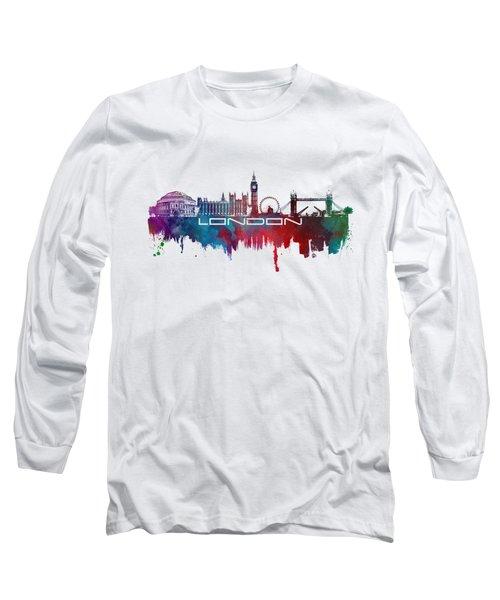 London Skyline City Blue Long Sleeve T-Shirt by Justyna JBJart