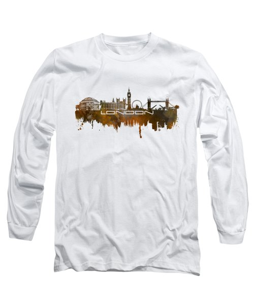 London Skyline City Brown Long Sleeve T-Shirt by Justyna JBJart