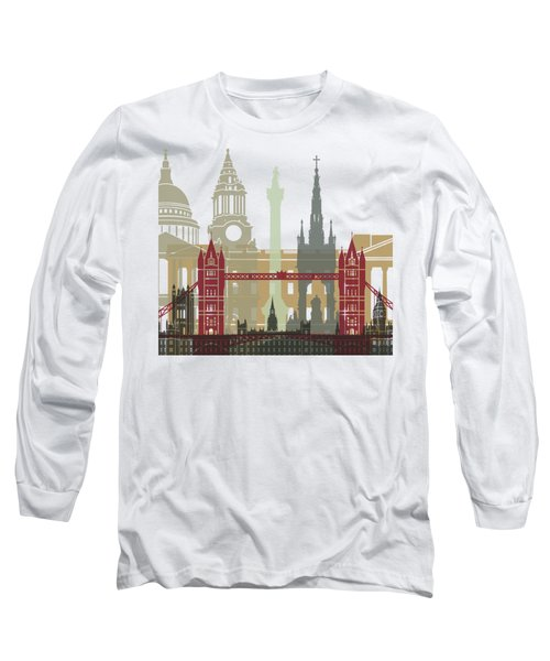 London Skyline Poster Long Sleeve T-Shirt by Pablo Romero