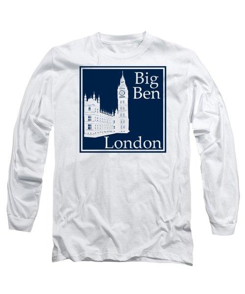 London's Big Ben In Oxford Blue Long Sleeve T-Shirt by Custom Home Fashions