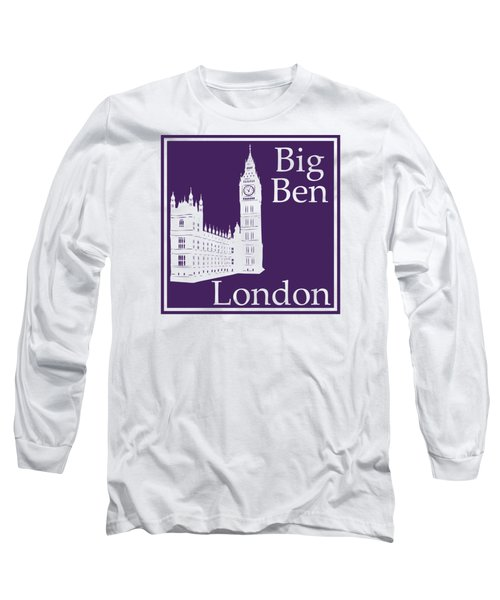 London's Big Ben In Purple Long Sleeve T-Shirt by Custom Home Fashions