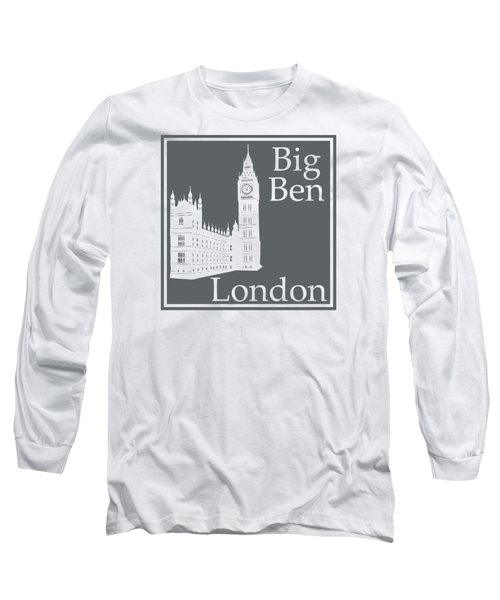 London's Big Ben In Storm Gray Long Sleeve T-Shirt by Custom Home Fashions