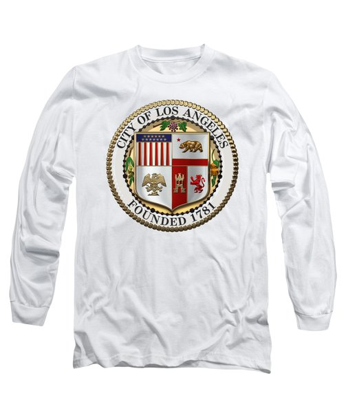 Los Angeles City Seal Over White Leather Long Sleeve T-Shirt by Serge Averbukh