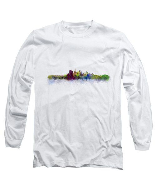Los Angeles City Skyline Hq V3 Long Sleeve T-Shirt by HQ Photo