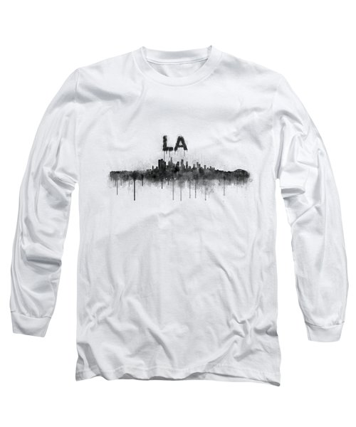 Los Angeles City Skyline Hq V5 Bw Long Sleeve T-Shirt by HQ Photo