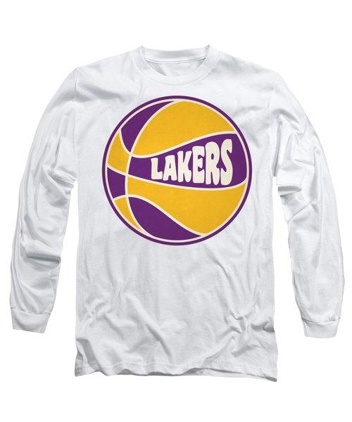 Los Angeles Lakers Retro Shirt Long Sleeve T-Shirt by Joe Hamilton