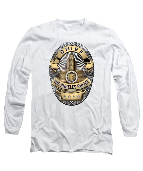 Los Angeles Police Department  -  L A P D  Chief Badge Over White Leather Long Sleeve T-Shirt by Serge Averbukh