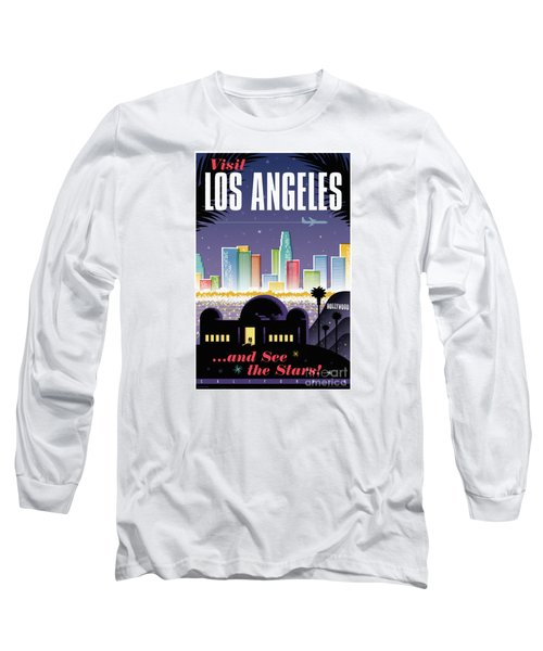 Los Angeles Retro Travel Poster Long Sleeve T-Shirt by Jim Zahniser