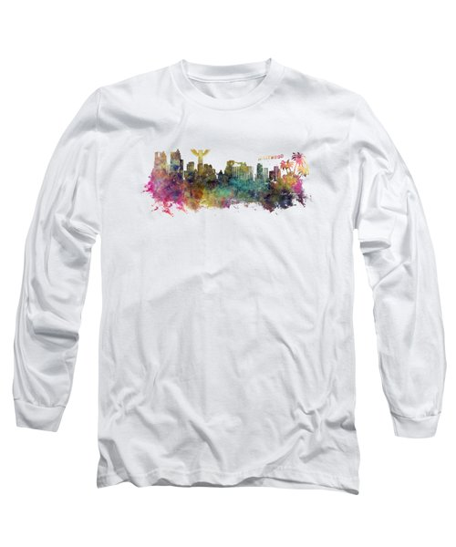 Los Angeles Skyline Long Sleeve T-Shirt by Justyna JBJart