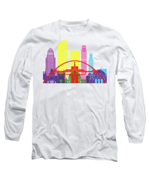Los Angeles Skyline Pop Long Sleeve T-Shirt by Pablo Romero