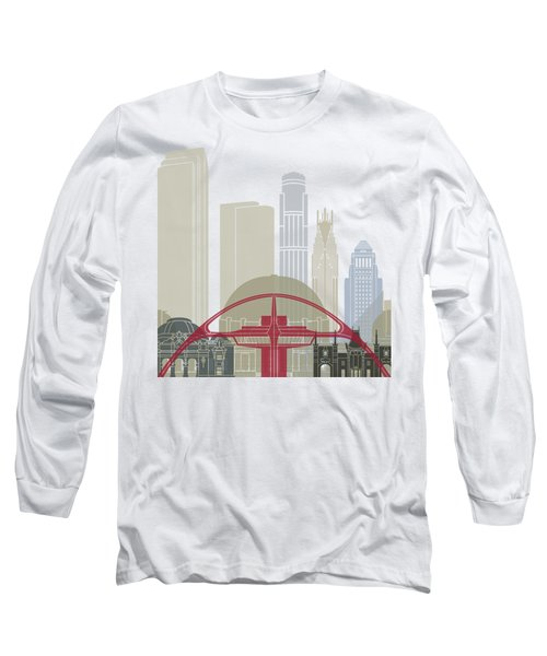 Los Angeles Skyline Poster Long Sleeve T-Shirt by Pablo Romero