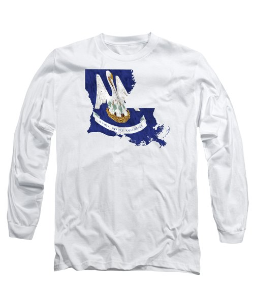 Louisiana Map Art With Flag Design Long Sleeve T-Shirt by World Art Prints And Designs