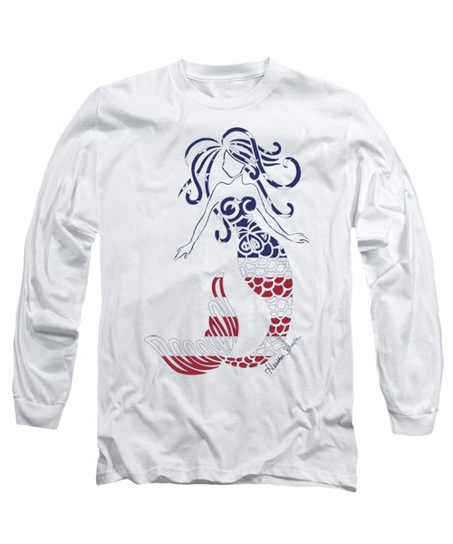 Made In The Usa Tribal Mermaid Long Sleeve T-Shirt by Heather Schaefer