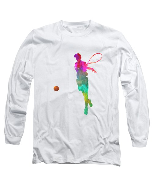Man Tennis Player 01 In Watercolor Long Sleeve T-Shirt by Pablo Romero
