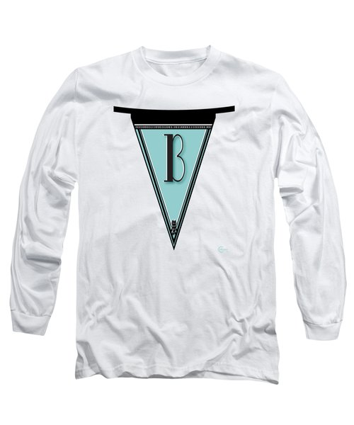 Pennant Deco Blues Banner Initial Letter B Long Sleeve T-Shirt by Cecely Bloom