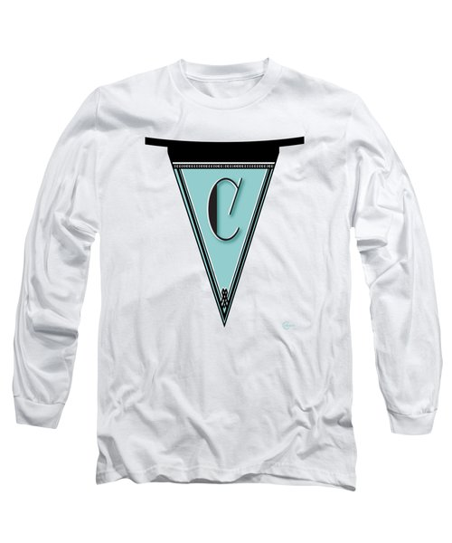 Pennant Deco Blues Banner Initial Letter C Long Sleeve T-Shirt by Cecely Bloom