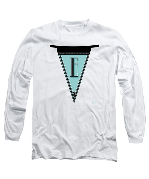 Pennant Deco Blues Banner Initial Letter E Long Sleeve T-Shirt by Cecely Bloom