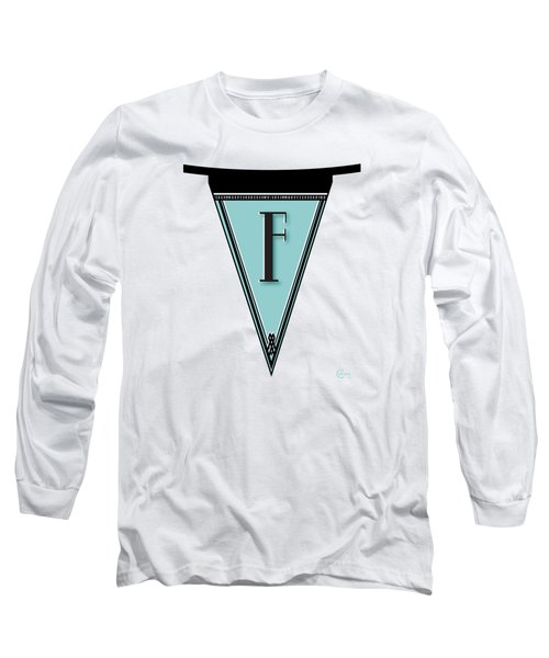 Pennant Deco Blues Banner Initial Letter F Long Sleeve T-Shirt by Cecely Bloom