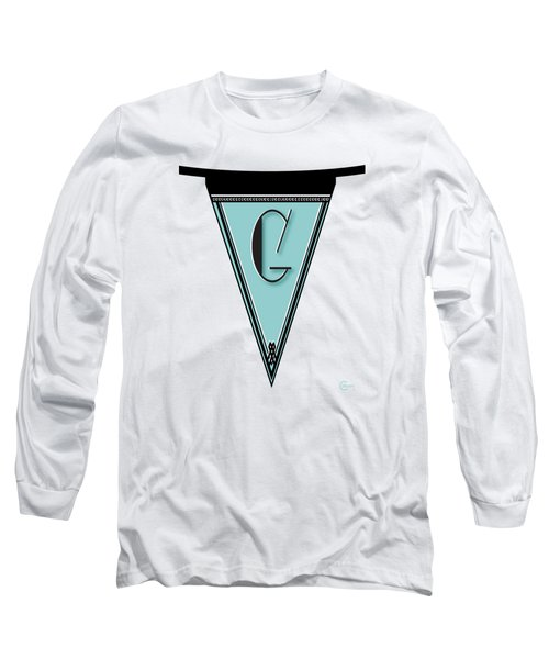 Pennant Deco Blues Banner Initial Letter G Long Sleeve T-Shirt by Cecely Bloom