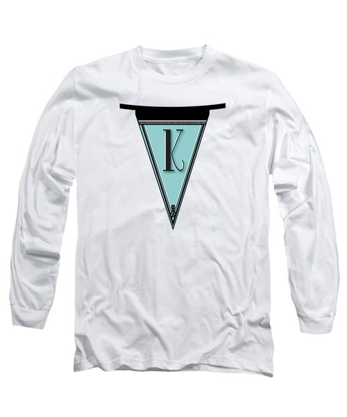 Pennant Deco Blues Banner Initial Letter K Long Sleeve T-Shirt by Cecely Bloom