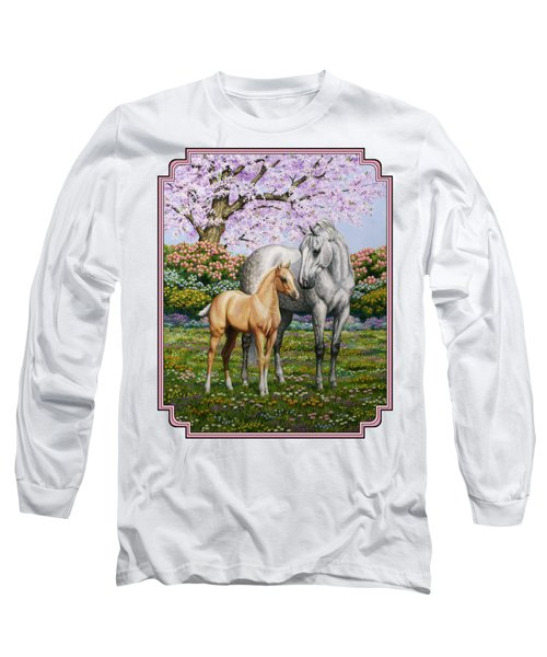 Mare And Foal Pillow Pink Long Sleeve T-Shirt by Crista Forest