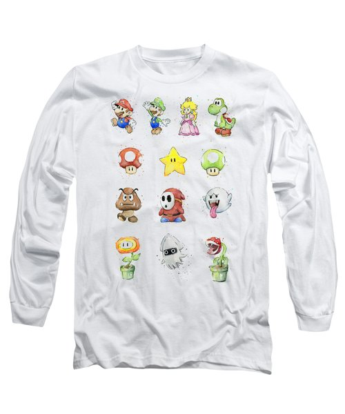 Mario Characters In Watercolor Long Sleeve T-Shirt by Olga Shvartsur