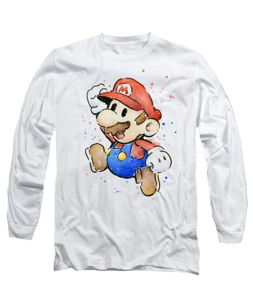Mario Watercolor Fan Art Long Sleeve T-Shirt by Olga Shvartsur
