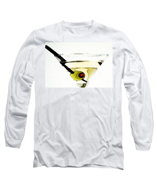 Martini With Green Olive Long Sleeve T-Shirt by Sharon Cummings