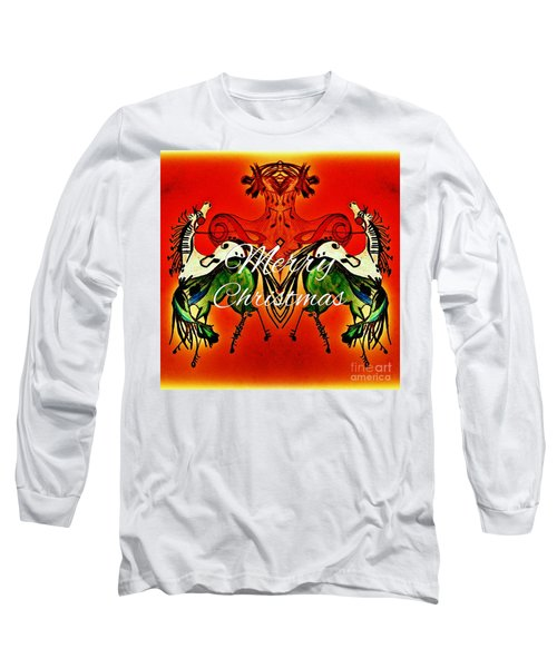 Merry Christmas Dancing Musical Horses Long Sleeve T-Shirt by Scott D Van Osdol