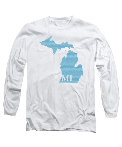 Michigan State Map With Text Of Constitution Long Sleeve T-Shirt by Design Turnpike