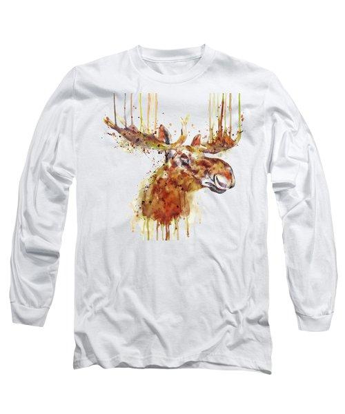 Moose Head Long Sleeve T-Shirt by Marian Voicu