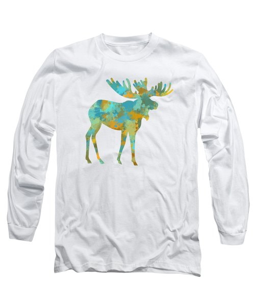 Moose Watercolor Art Long Sleeve T-Shirt by Christina Rollo