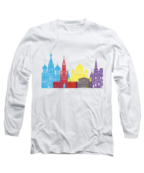 Moscow Skyline Pop Long Sleeve T-Shirt by Pablo Romero